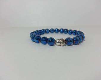 Blue Hematite Beads Bracelet | Blue Bracelet | Blue Beads Bracelet | Hematite Bracelet | Buddha Bracelet | Buddha Head Bracelet | Charm Bead