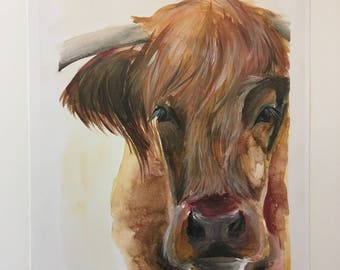 Highland Cow Original Watercolor PRINT
