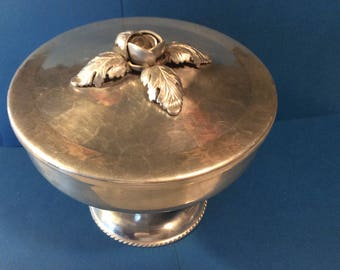 Vintage continental hand wrought silver look casserole