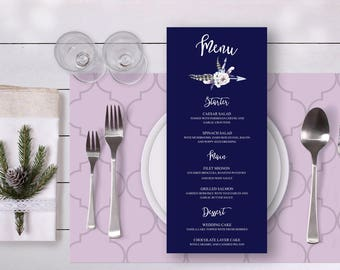 Floral Wedding Menu Navy Blue  Watercolor White Piones Rustic Digital Printable Wedding Boho Long Menu Card Bohemian Food  - WS007