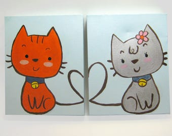 Purr...fect Pair - Original set of 2 paintings -Acrylic on Canvas