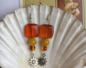 Boho dangle earrings with sun charm
