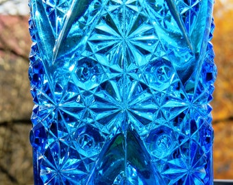 """EAPG Celery Vase – Blue Glass """"Daisy and Button with """"V"""" Ornament - BEATTY Glass – 1885 - Exceptional Condition – No Damage!"""