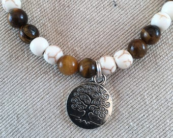 White Turquoise and Tiger's Eye Charm Bracelet