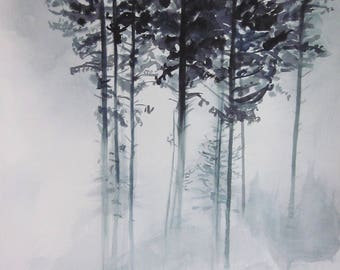 19x27inch ORIGINAL watercolor painting, Forest watercolor, nature watercolor, tree painting, fog watercolor, large painting, nature painting
