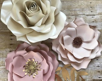 Paper Flowers set of 3  and leaves