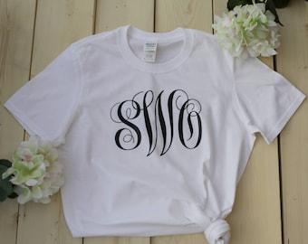 Monogrammed Bride Shirt, Monogrammed Bridesmaid Shirt, Monogram Shirt, Womans' Monogram Shirt, Ladies' Monogram Shirt