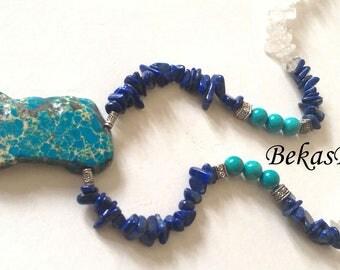 Gemstone Necklace, Energy Jewerly, Charm Necklace, Lapis Lazuli, Turquoise, Rock Crystal, Regalite Pendant Necklace