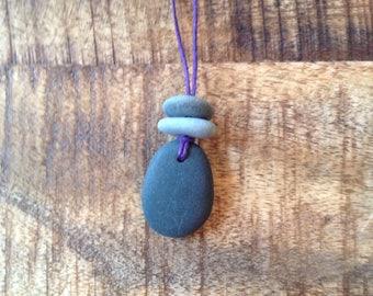 Rock necklace, pendant, rock pendant, necklace, stacked rock necklace, stacked rock pendant