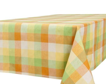 Linen-Cotton Tablecloth - made in Europe - multi-colored - Checked