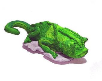 Handmade Chameleon Polymer Clay Figurine