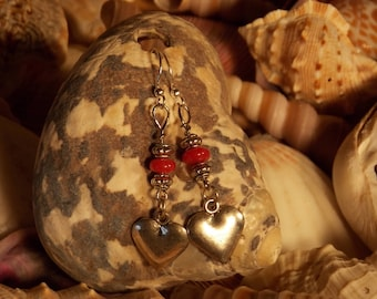 New England handmade earrings, heart charm with red glass accent beads, and silver plated, nickel free findings, hypoallergenic