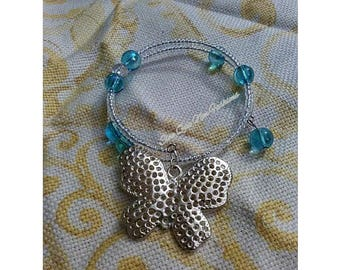 Hues of Blue Butterfly charm bracelet