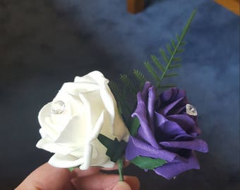 Double foam rose buttonhole