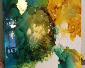 """Large Original Abstract Painting, Turquoise, Blue, Green, Gold, Yellow, Ombre Resin Coat 36"""" x 36"""""""