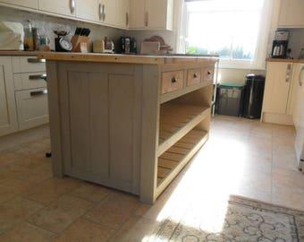 Rustic Solid Pine Kitchen Island / Breakfast Bar