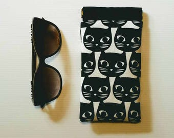 Black Cat Sunglass Case with spring clip closure