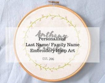 Monogram Embroidery Hoop Art - Personalized Hand Embroidery - Custom Embroidery - Custom Surname Sign - Custom Last Name Sign