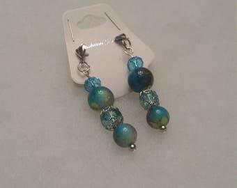 Blue post earrings