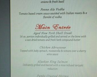 Wedding menus or any occasion