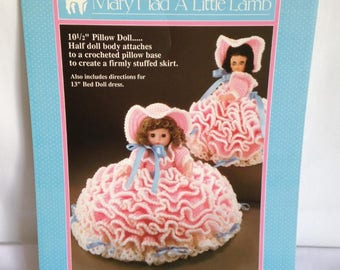 13 inch/Fibre Craft/Mary Had a Little Lamb/bed doll/crochet/pattern/vintage/doll clothes/Doll Not Included/DIY/1989/doll/gift/little girl/