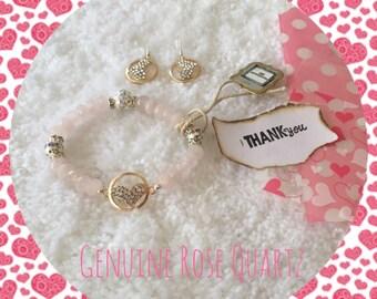 All you need is love bracelet, rose quartz bracelet, pink gemstone bracelet, promise bracelet, protective bracelet,  elegant bracelet,