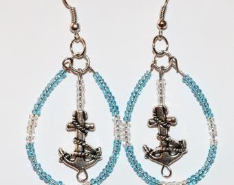 Hoop anchor earrings, hoop earrings, drop earrings, beaded earrings, custom made