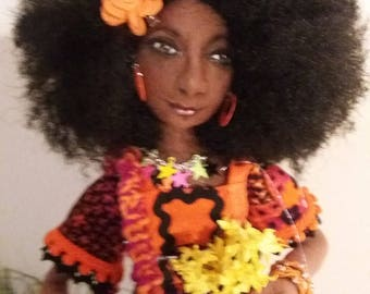 OOAK Art Cloth doll Marsha