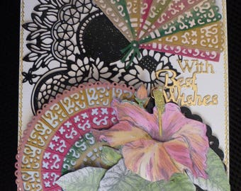 With Best Wishes Card  with Hibiscus and Fans