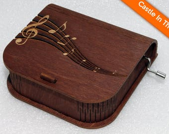 "Engraved Wooden Music Box  ""Castle In The Sky"" #4 - Hand Crank Movement"