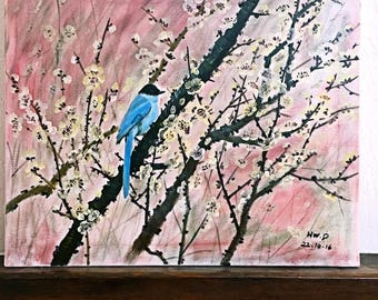 Blue Bird on a cherry tree.