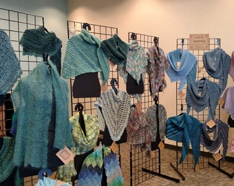 Wall of shawls at a recent show