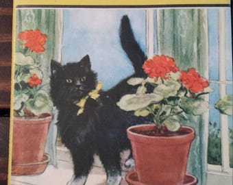 Vintage children's book, Tiptoes The Mischievous Kitten 1949