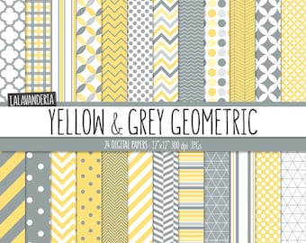 Geometric Digital Paper Package with Yellow and Grey Backgrounds. Printable Papers - Yellow and Gray Geometric Patterns. Digital Scrapbook