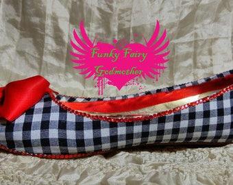 women's ballet flats, flat shoes, gingham flat shoes, customised shoes, fabric shoes, fabric covered flats