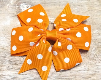 Tangerine Orange and White Polka Dot Grosgrain Ribbon Bow, Alligator Clip, Barrette, 3 inches wide, Hair bow, Girls