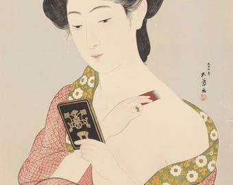 "Japanese Art Print ""Makeup"" by Hashiguchi Goyo, woodblock print reproduction, fine art, asian art, cultural art"