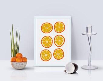 The Orange In The Orange. Orange Print Painting.