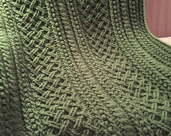 Crochet Lattice Throw in Medium Thyme