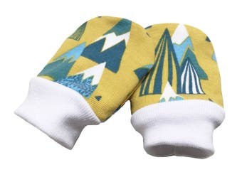 baby cuff scratch mittens, mountains, yellow, blue, baby mittens, scratch mittens, stay on mittens, OEKO-TEX 100, new baby gift 0-3m or 3-9m