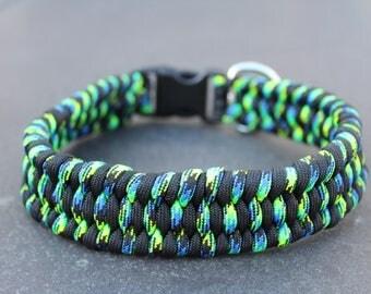 Handmade Paracord Dog Collar / Black, Green / Trilobite