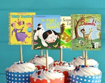 Little Golden Books Cupcake Toppers, Storybook Cupcake Toppers, Little Golden Books Happy Birthday, Birthday Cupcake Toppers, INSTANT