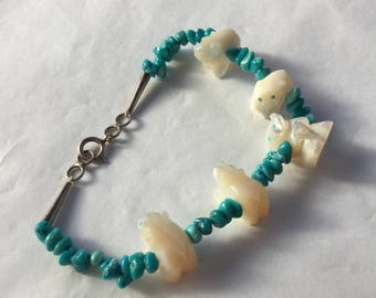 Turquoise, Mother of Pearl & Silver Inuit Bracelet