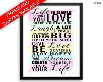 Life Canvas Art Life Printed Life Inspiring Art Life Inspiring Print Life Framed Art Life live your life inspiration print