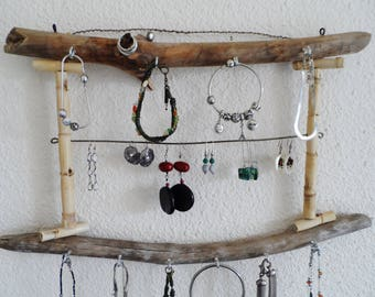 Door wall driftwood and natural bamboo jewelry