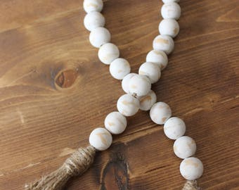 Distressed Cream Wooden Bead Strand