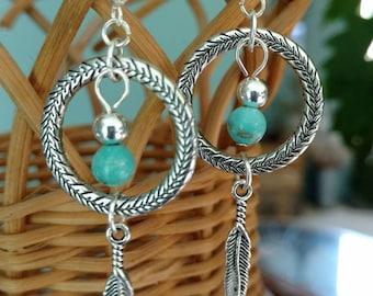 Dreamcatcher drop earrings, Tribal jewelry, Turquoise earrings, Bohemian jewelry, silver earrings