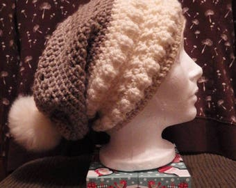 Autumn Chill Slouchy Hat With Faux Fur Pom Pom