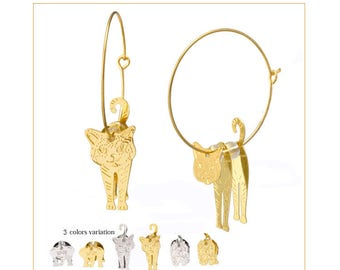 Cat, Dog, Elephant Swaying Earrings