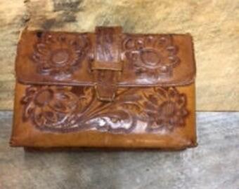 Vintage '70's Tooled Leather Boho Hippie Handbag